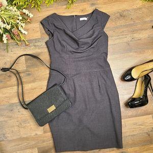 Calvin Klein • Grey Draped Neck Career Dress